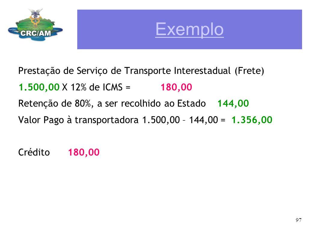 Exemplo Prestação de Serviço de Transporte Interestadual (Frete)