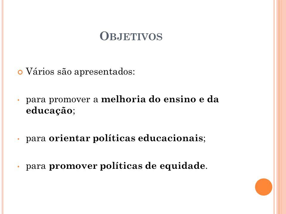 Objetivos Vários são apresentados: