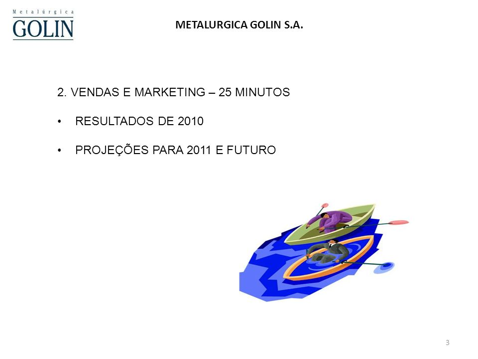 2. VENDAS E MARKETING – 25 MINUTOS RESULTADOS DE 2010