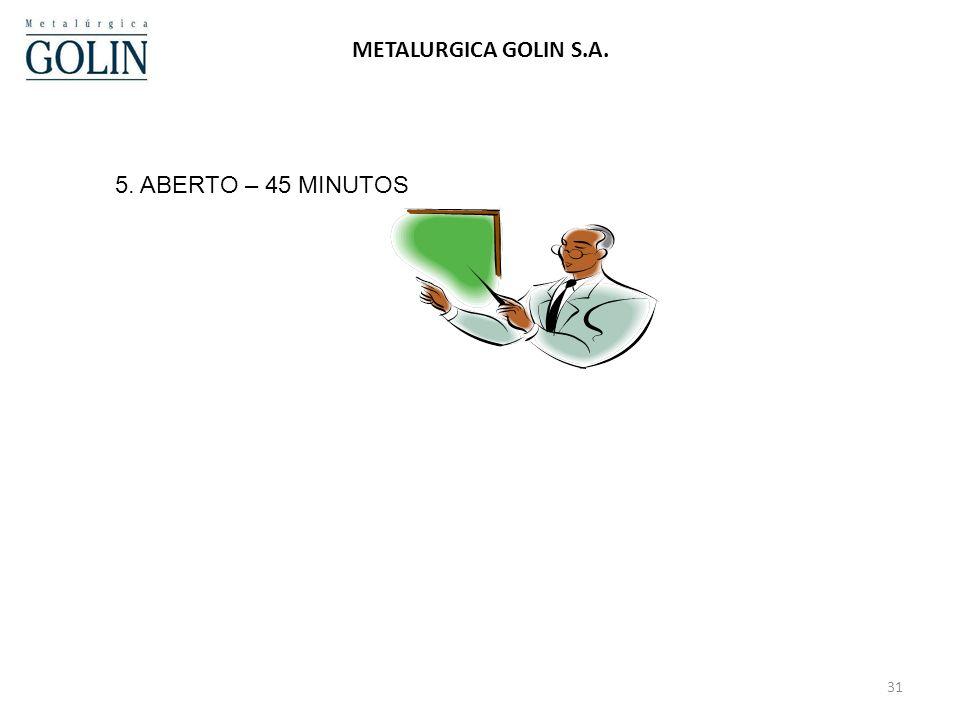24/03/2017 METALURGICA GOLIN S.A. 5. ABERTO – 45 MINUTOS