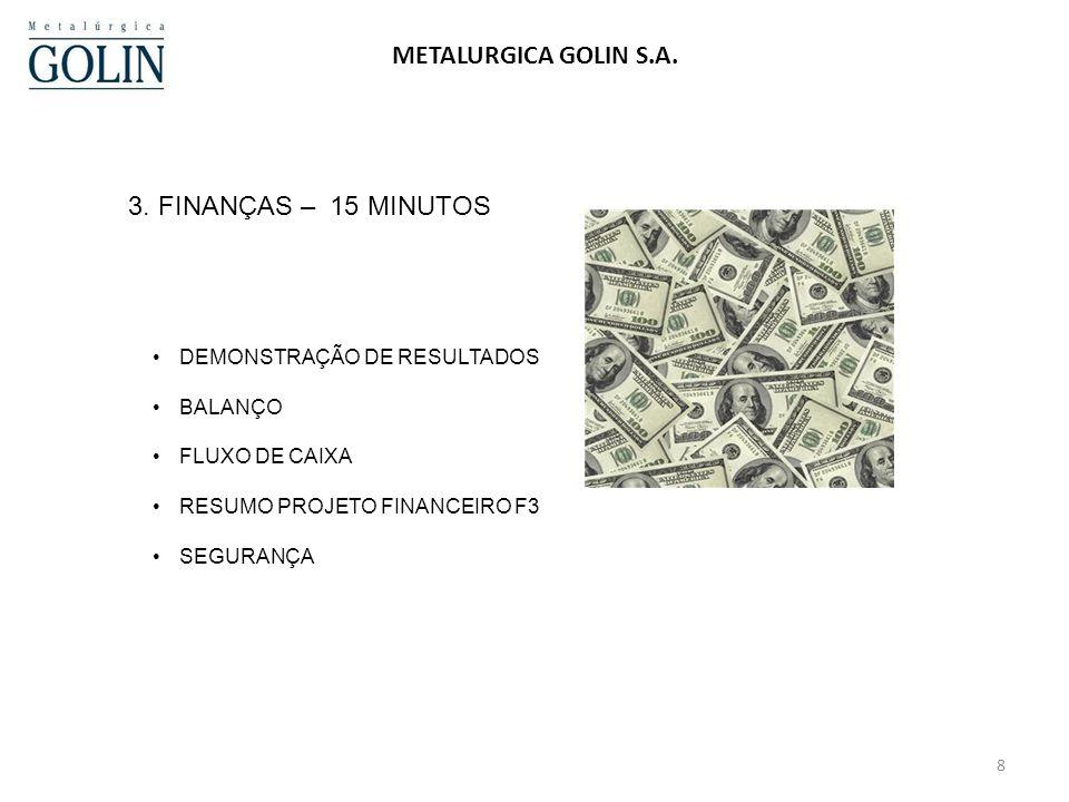 METALURGICA GOLIN S.A. 3. FINANÇAS – 15 MINUTOS
