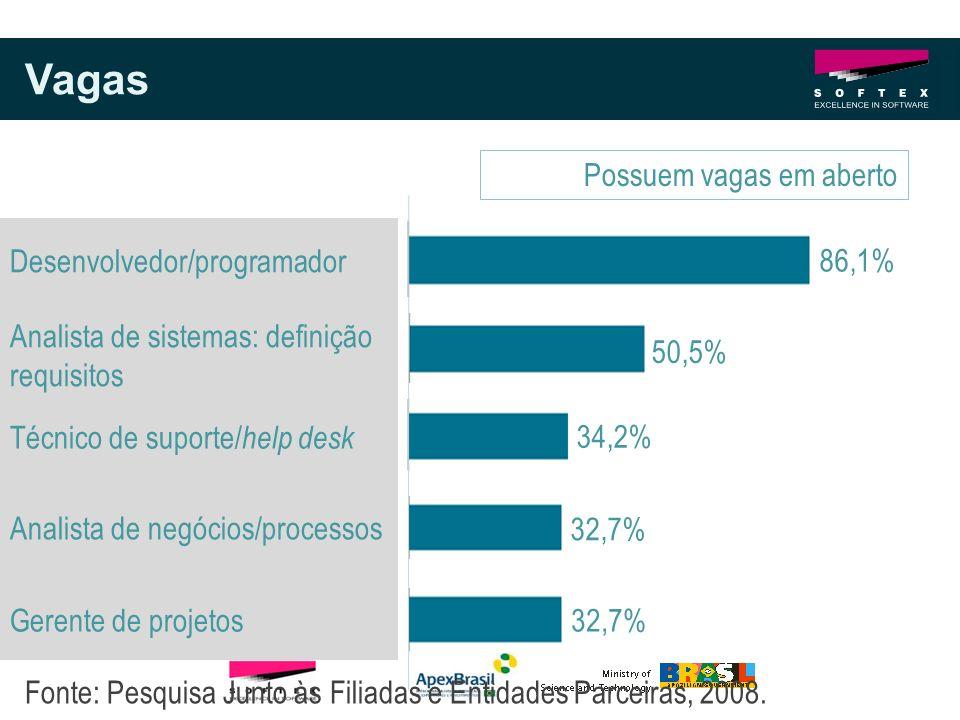 Vagas Possuem vagas em aberto Desenvolvedor/programador 86,1%