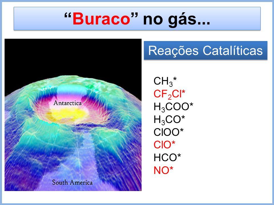 Buraco no gás... Reações Catalíticas CH3* CF2Cl* H3COO* H3CO* ClOO*