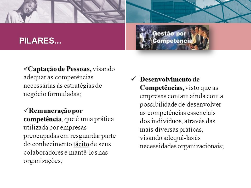 PILARES... Captação de Pessoas, visando adequar as competências necessárias às estratégias de negócio formuladas;