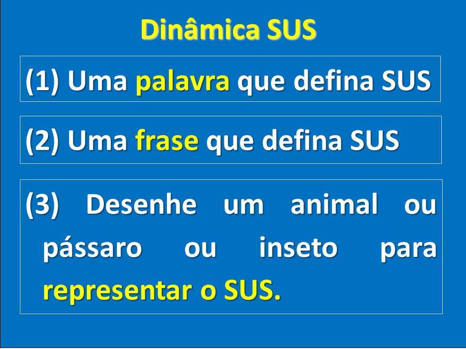 Dinâmica SUS (1) Uma palavra que defina SUS. (2) Uma frase que defina SUS.