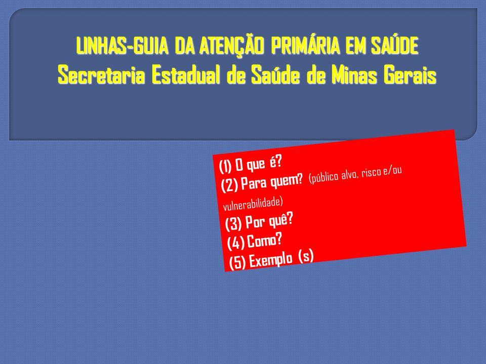 LINHAS-GUIA DA ATENÇÃO PRIMÁRIA EM SAÚDE Secretaria Estadual de Saúde de Minas Gerais
