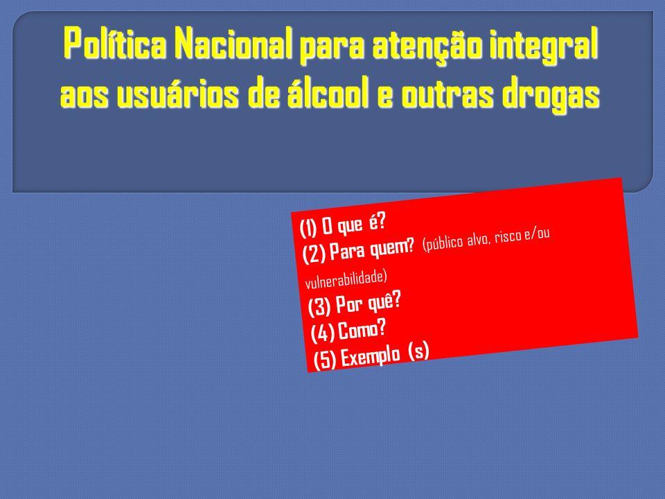 Política Nacional para atenção integral aos usuários de álcool e outras drogas