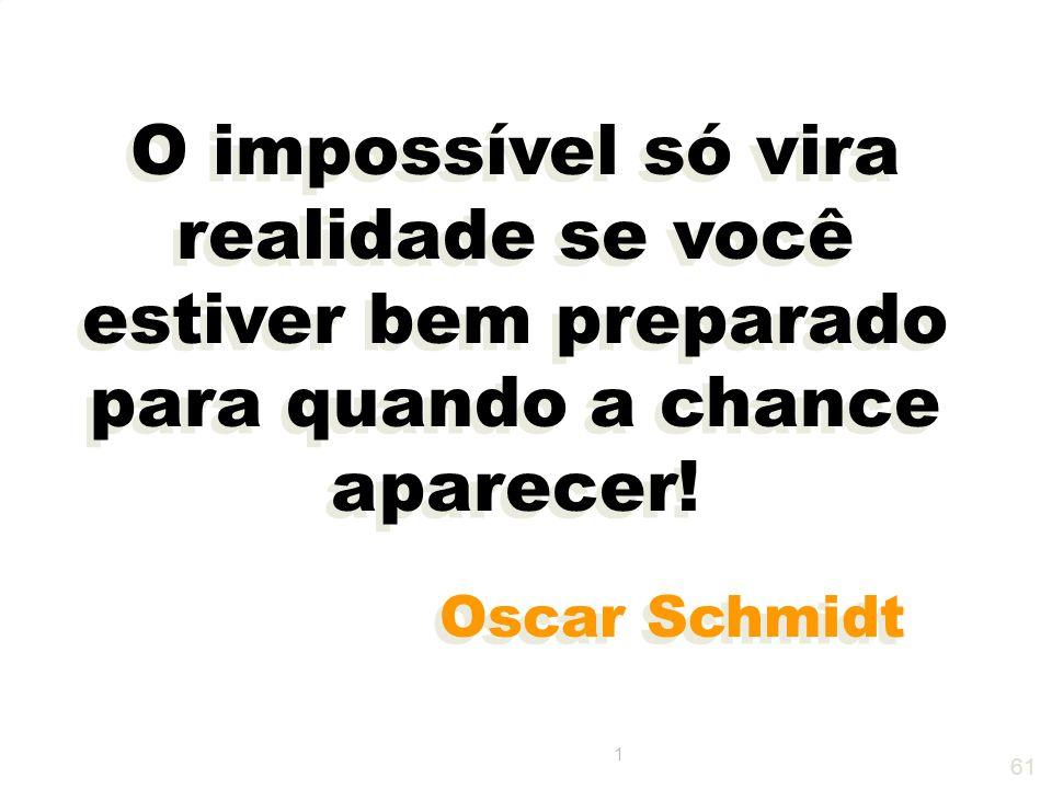 O impossível só vira realidade se você estiver bem preparado para quando a chance aparecer!