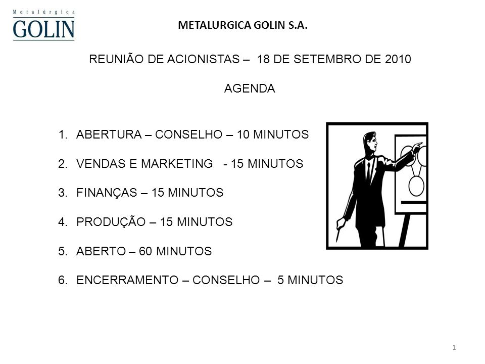 REUNIÃO DE ACIONISTAS – 18 DE SETEMBRO DE 2010