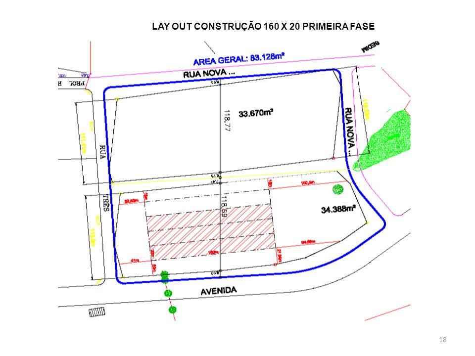 LAY OUT CONSTRUÇÃO 160 X 20 PRIMEIRA FASE