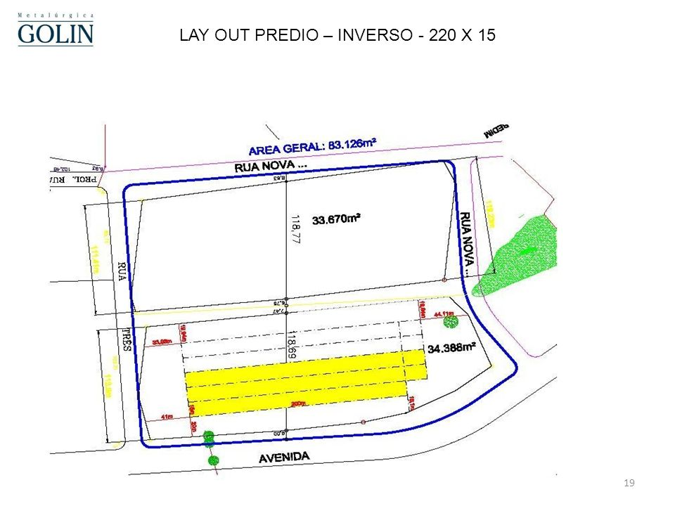 LAY OUT PREDIO – INVERSO - 220 X 15
