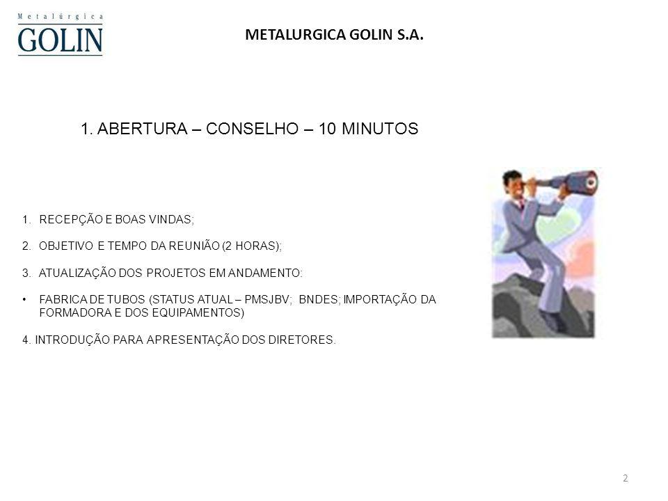 1. ABERTURA – CONSELHO – 10 MINUTOS