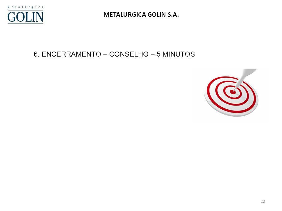 6. ENCERRAMENTO – CONSELHO – 5 MINUTOS