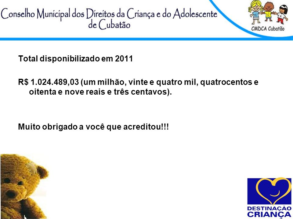 Total disponibilizado em 2011