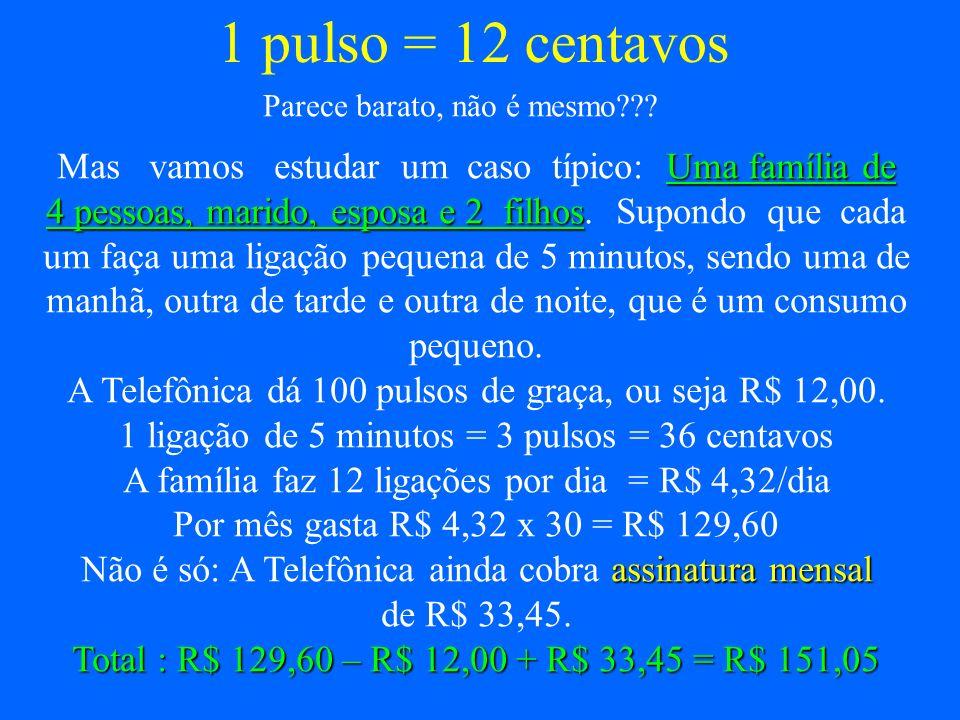 1 pulso = 12 centavos Mas vamos estudar um caso típico: Uma família de