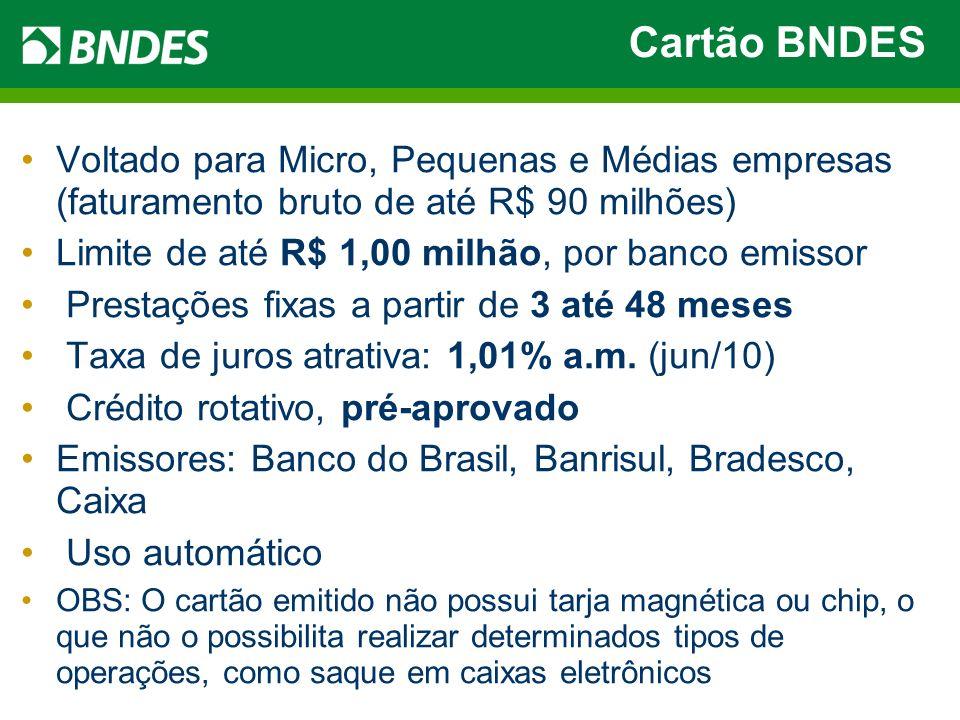 Cartão BNDESVoltado para Micro, Pequenas e Médias empresas (faturamento bruto de até R$ 90 milhões)