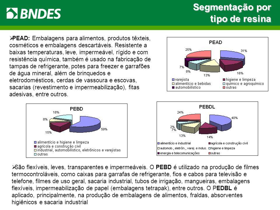 Segmentação por tipo de resina