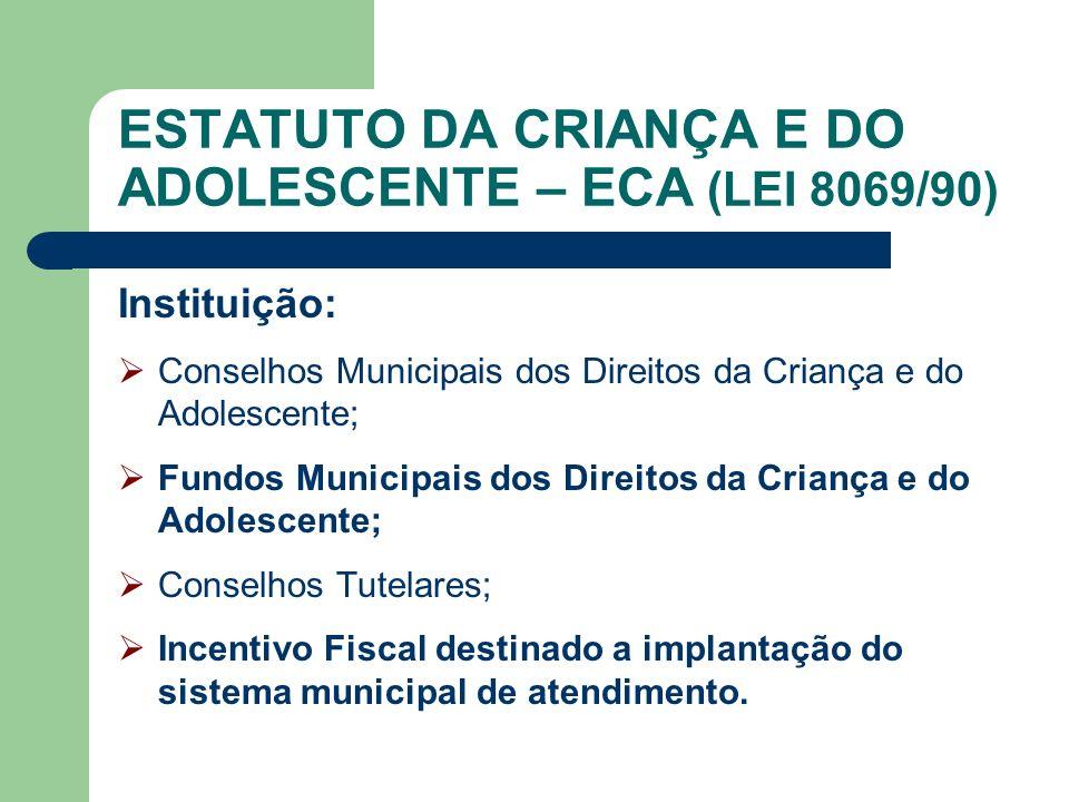 ESTATUTO DA CRIANÇA E DO ADOLESCENTE – ECA (LEI 8069/90)