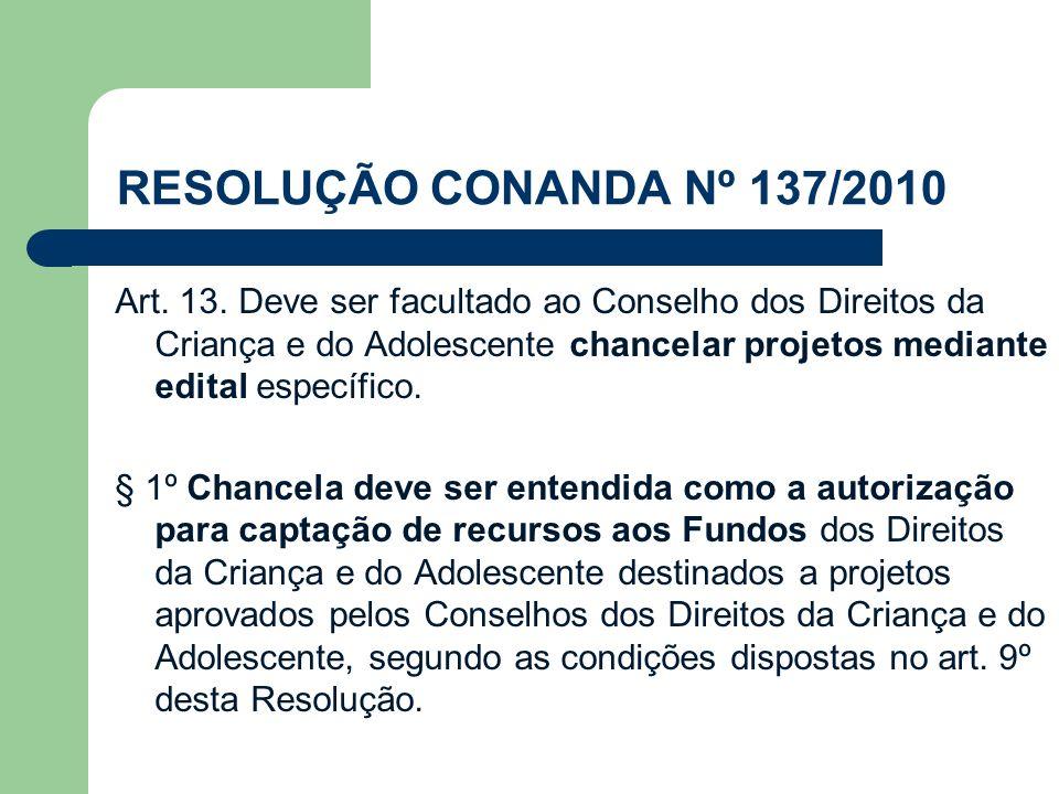 RESOLUÇÃO CONANDA Nº 137/2010