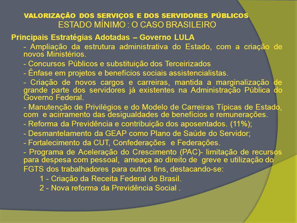 VALORIZAÇÃO DOS SERVIÇOS E DOS SERVIDORES PÚBLICOS ESTADO MÍNIMO : O CASO BRASILEIRO