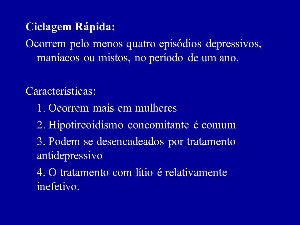Ciclagem Rápida: Ocorrem pelo menos quatro episódios depressivos, maníacos ou mistos, no período de um ano.