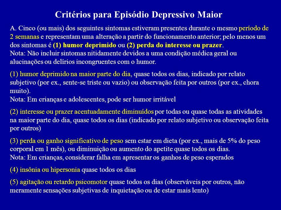 Critérios para Episódio Depressivo Maior