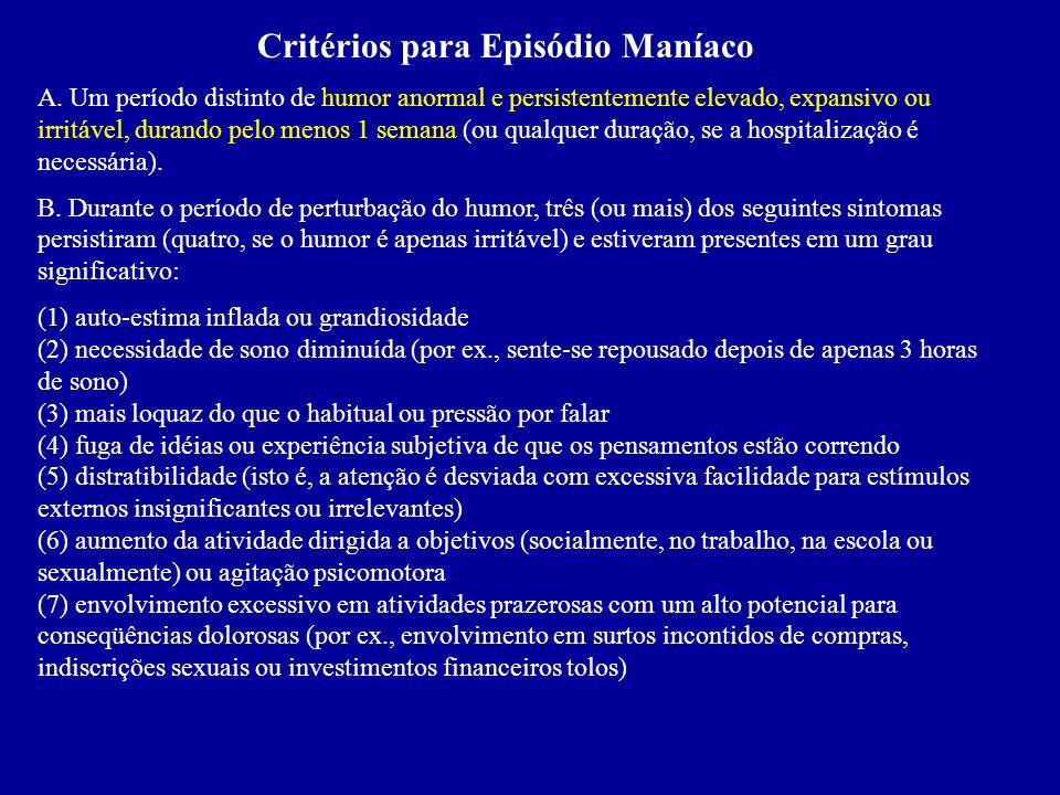 Critérios para Episódio Maníaco