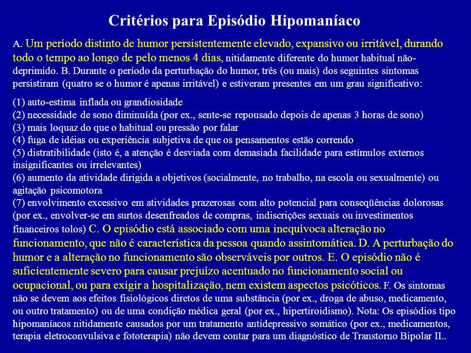 Critérios para Episódio Hipomaníaco