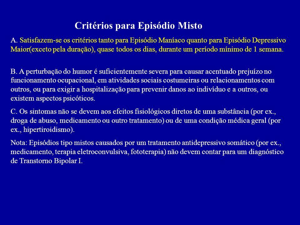 Critérios para Episódio Misto