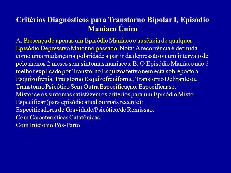 Critérios Diagnósticos para Transtorno Bipolar I, Episódio Maníaco Único