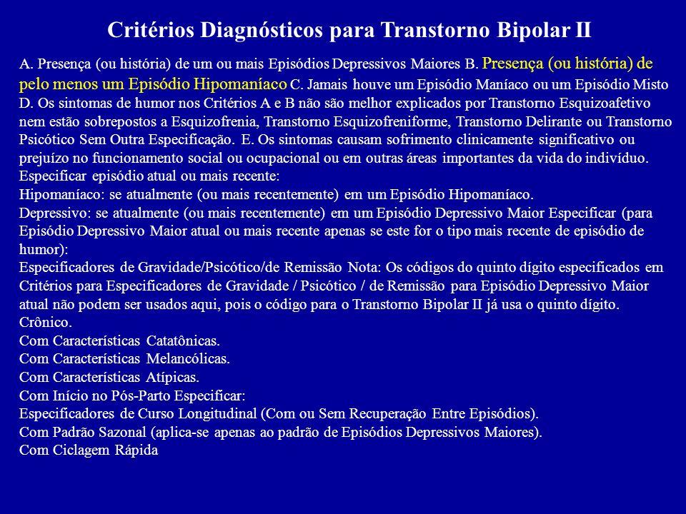 Critérios Diagnósticos para Transtorno Bipolar II
