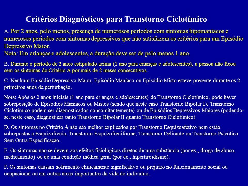 Critérios Diagnósticos para Transtorno Ciclotímico