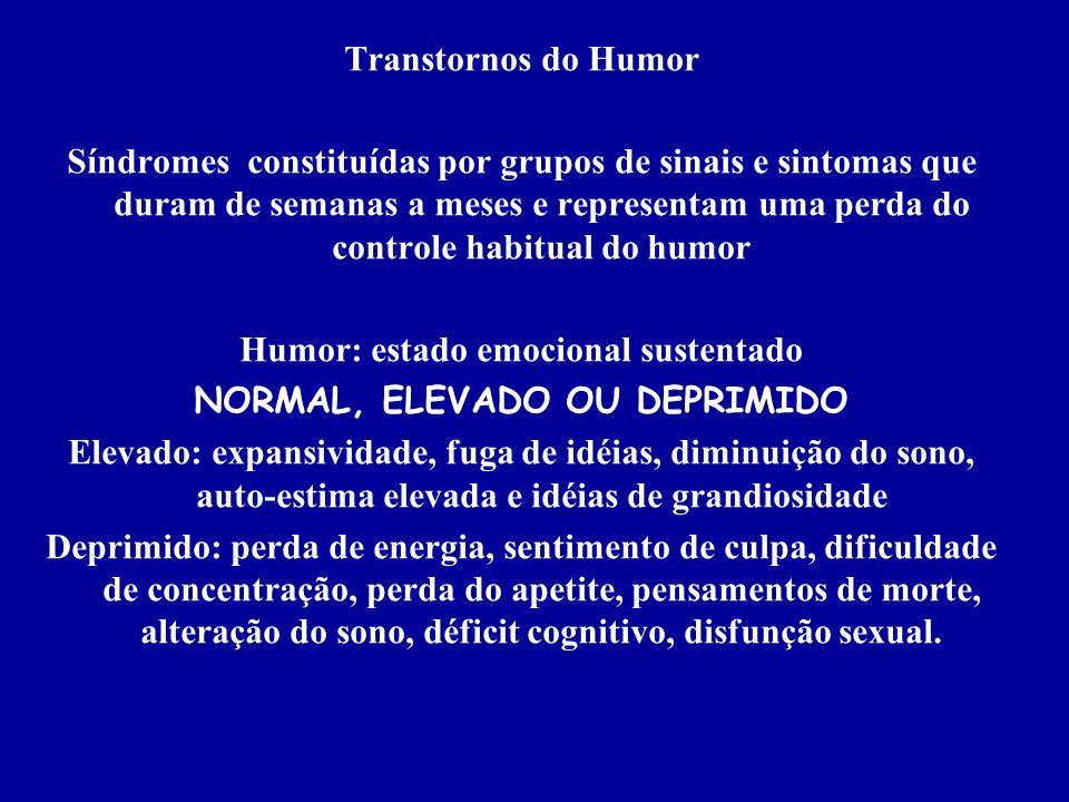 Humor: estado emocional sustentado NORMAL, ELEVADO OU DEPRIMIDO