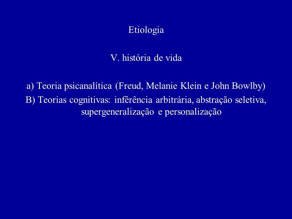 a) Teoria psicanalítica (Freud, Melanie Klein e John Bowlby)