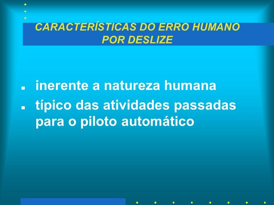 CARACTERÍSTICAS DO ERRO HUMANO POR DESLIZE