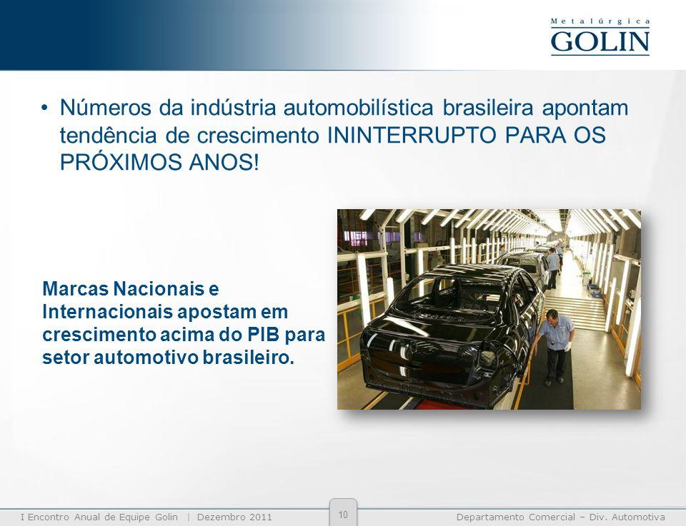 Números da indústria automobilística brasileira apontam tendência de crescimento ININTERRUPTO PARA OS PRÓXIMOS ANOS!