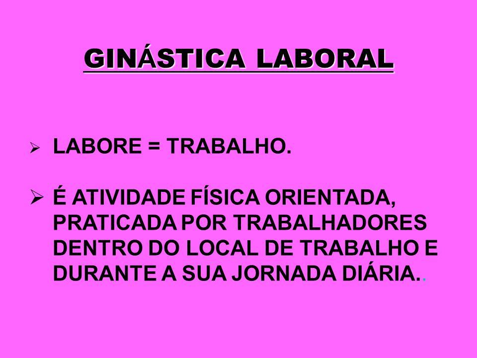 GINÁSTICA LABORAL LABORE = TRABALHO.