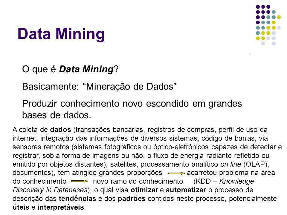 Data Mining O que é Data Mining Basicamente: Mineração de Dados