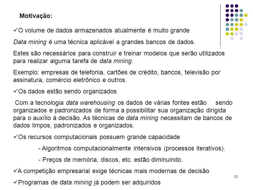 Motivação:O volume de dados armazenados atualmente é muito grande. Data mining é uma técnica aplicável a grandes bancos de dados.