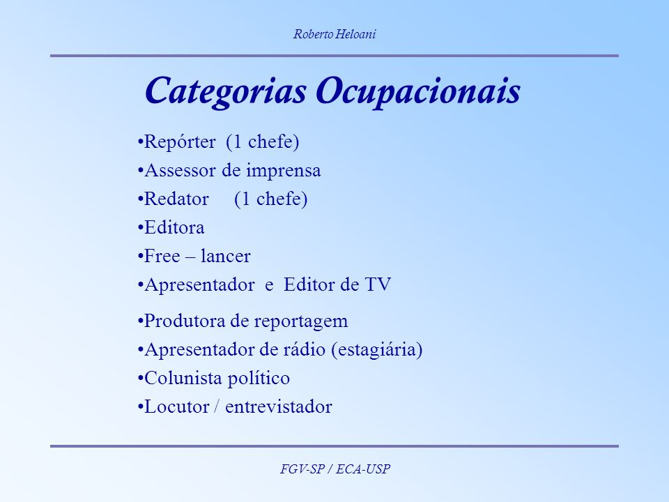 Categorias Ocupacionais