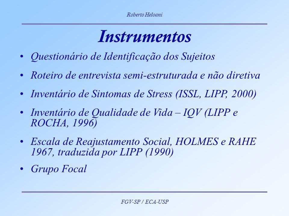 Instrumentos Questionário de Identificação dos Sujeitos