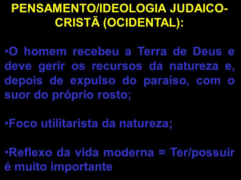 PENSAMENTO/IDEOLOGIA JUDAICO-CRISTÃ (OCIDENTAL):