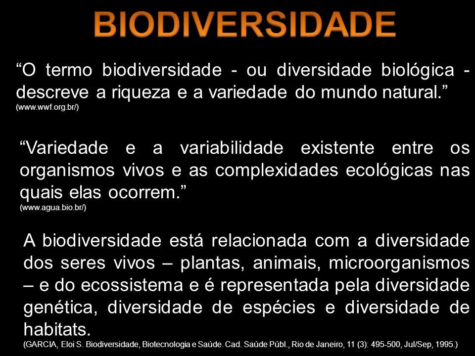 BIODIVERSIDADE O termo biodiversidade - ou diversidade biológica - descreve a riqueza e a variedade do mundo natural.