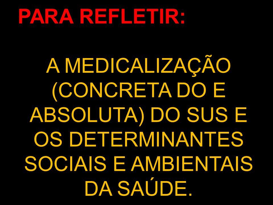 PARA REFLETIR:A MEDICALIZAÇÃO (CONCRETA DO E ABSOLUTA) DO SUS E OS DETERMINANTES SOCIAIS E AMBIENTAIS DA SAÚDE.