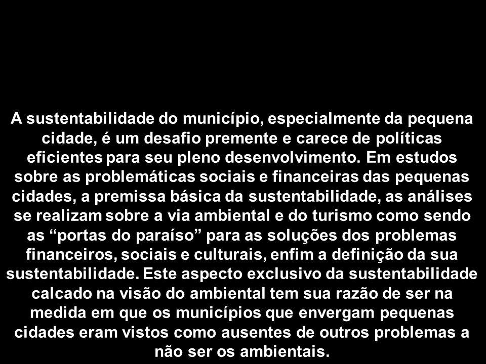 A sustentabilidade do município, especialmente da pequena cidade, é um desafio premente e carece de políticas eficientes para seu pleno desenvolvimento.