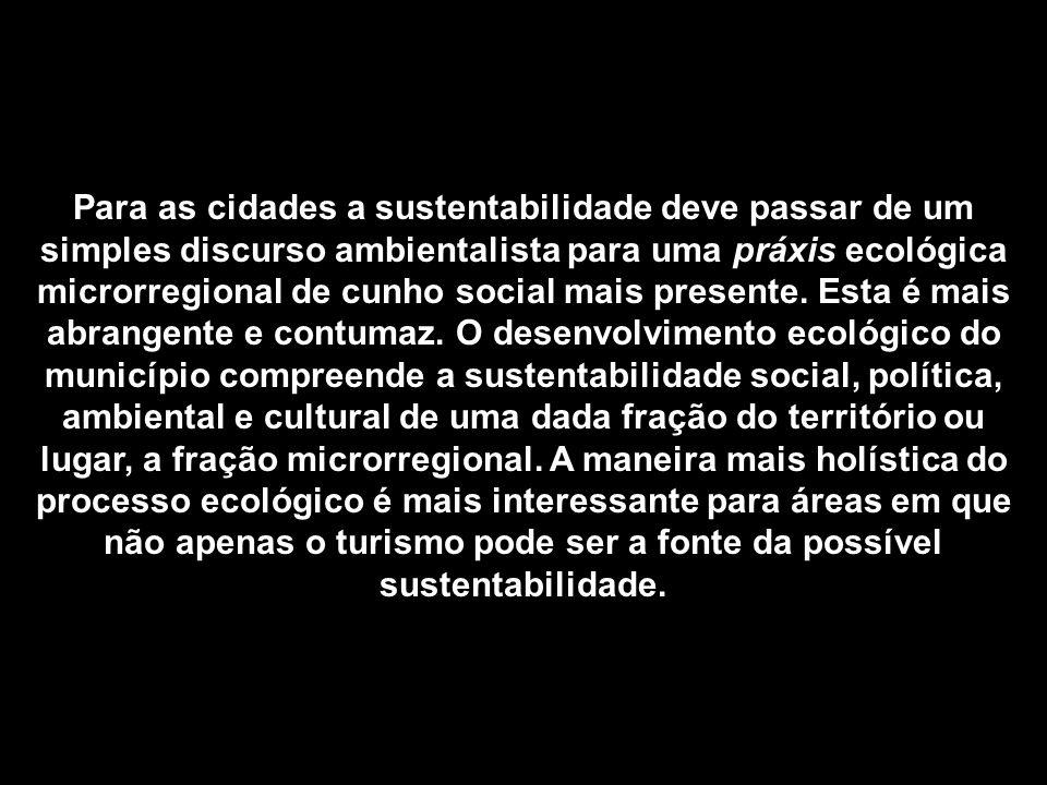 Para as cidades a sustentabilidade deve passar de um simples discurso ambientalista para uma práxis ecológica microrregional de cunho social mais presente.