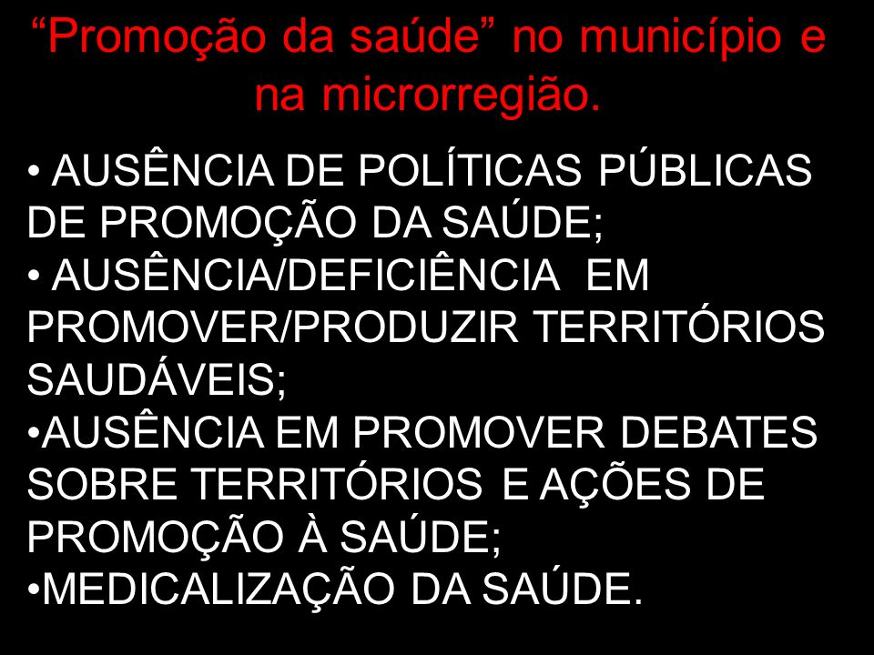 Promoção da saúde no município e na microrregião.