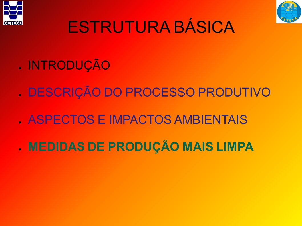 ESTRUTURA BÁSICA INTRODUÇÃO DESCRIÇÃO DO PROCESSO PRODUTIVO