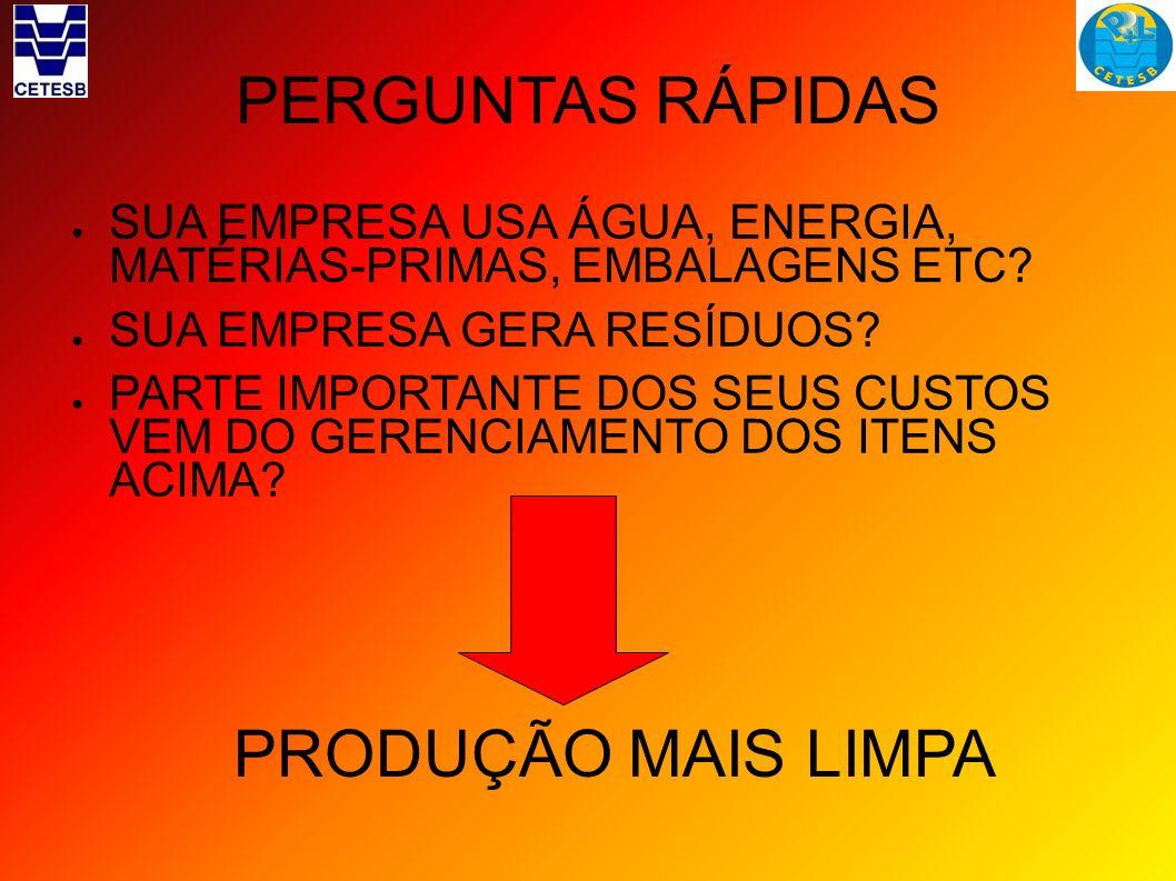 PERGUNTAS RÁPIDAS PRODUÇÃO MAIS LIMPA