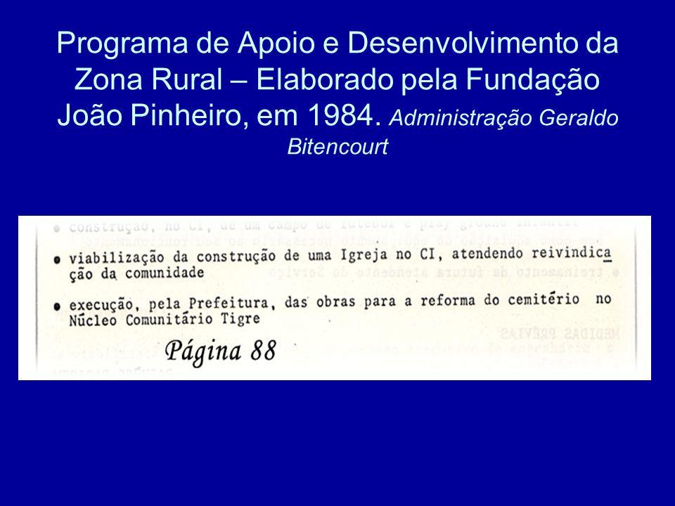 Programa de Apoio e Desenvolvimento da Zona Rural – Elaborado pela Fundação João Pinheiro, em 1984.